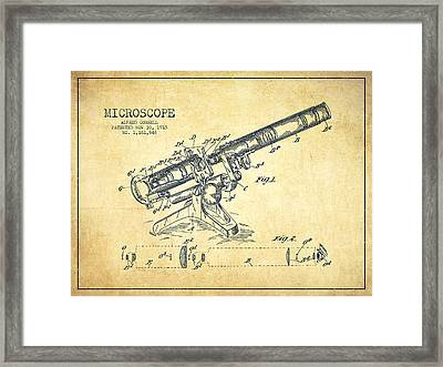 Microscope Patent Drawing From 1915-vintage Framed Print by Aged Pixel