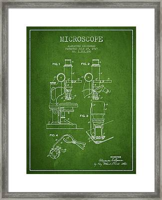 Microscope Patent Drawing From 1919- Green Framed Print by Aged Pixel