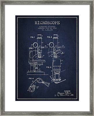 Microscope Patent Drawing From 1919- Navy Blue Framed Print by Aged Pixel