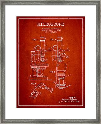 Microscope Patent Drawing From 1919- Red Framed Print by Aged Pixel