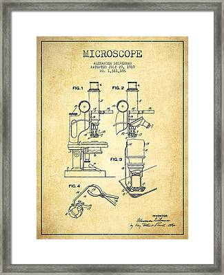 Microscope Patent Drawing From 1919- Vintage Framed Print by Aged Pixel