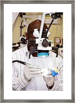 Microscopic Dental Surgery Framed Print by Cmft Manchester