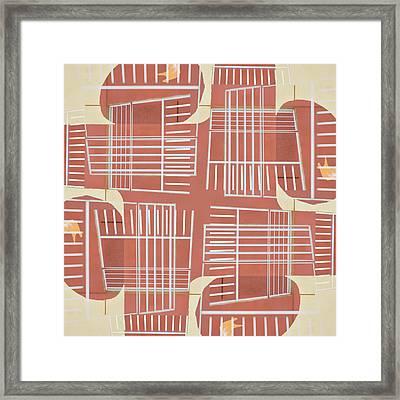 Mid-century Design Terra-cotta Framed Print by Carol Leigh