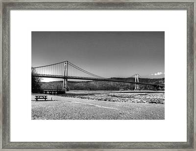 Mid Hudson Bridge In Winter 2 Framed Print by Linda Covino