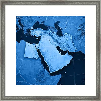Middle East Topographic Map Framed Print by Frank Ramspott