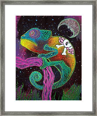 Midnight Chameleon Framed Print by Laura Barbosa
