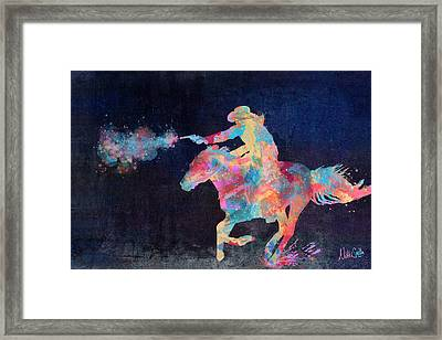 Midnight Cowgirls Ride Heaven Help The Fool Who Did Her Wrong Framed Print by Nikki Marie Smith