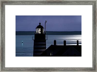 Midnight Moonlight On West Quoddy Head Lighthouse Framed Print by Marty Saccone