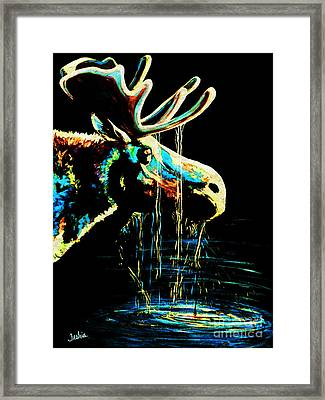 Midnight Moose Drool  Framed Print by Teshia Art