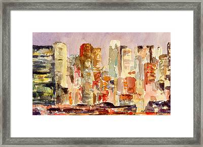 Midtown Manhattan Skyline At Dusk Watercolor Painting Of Nyc Framed Print by Beverly Brown