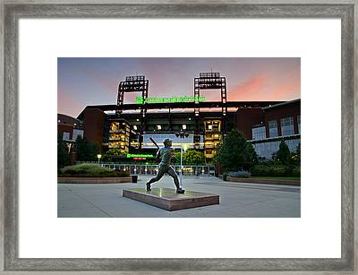 Mike Schmidt Statue At Dawn Framed Print by Bill Cannon