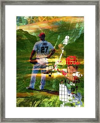 Mike Trout Framed Print by Robert Ball
