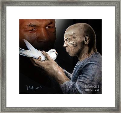 Mike Tyson And Pigeon II Framed Print by Jim Fitzpatrick