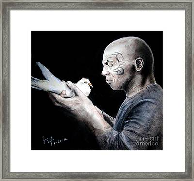 Mike Tyson And Pigeon Framed Print by Jim Fitzpatrick