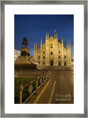 Milan Duomo At Twilight Framed Print by Brian Jannsen