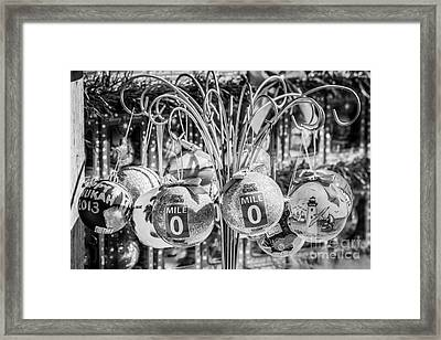 Mile Marker 0 Christmas Decorations Key West 2 - Black And White Framed Print by Ian Monk