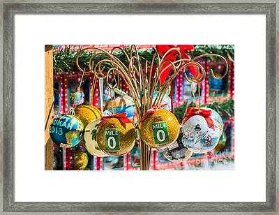 Mile Marker 0 Christmas Decorations Key West 2 Framed Print by Ian Monk