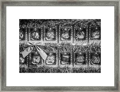Mile Marker 0 Christmas Decorations Key West 4 - Black And White Framed Print by Ian Monk
