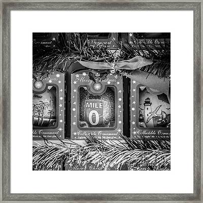 Mile Marker 0 Christmas Decorations Key West - Square - Black And White Framed Print by Ian Monk