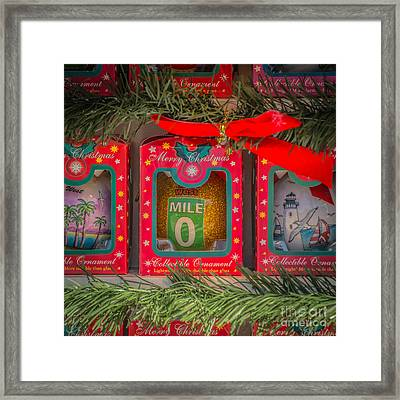 Mile Marker 0 Christmas Decorations Key West - Square - Hdr Style Framed Print by Ian Monk