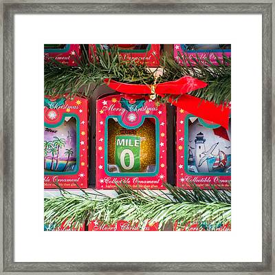 Mile Marker 0 Christmas Decorations Key West - Square Framed Print by Ian Monk