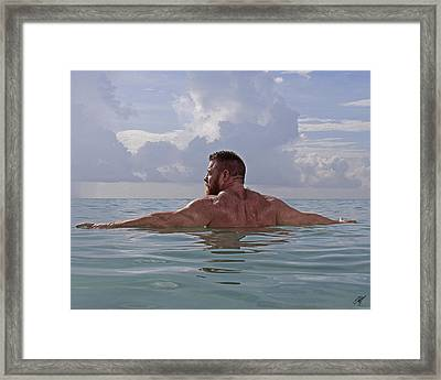 Miles At The Beach Framed Print by Chris  Lopez