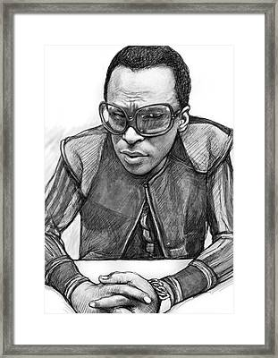 Miles Davis Art Drawing Sketch Portrait Framed Print by Kim Wang