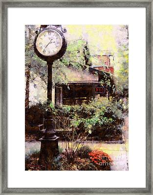 Milford Jewelry Square Clock Framed Print by Janine Riley