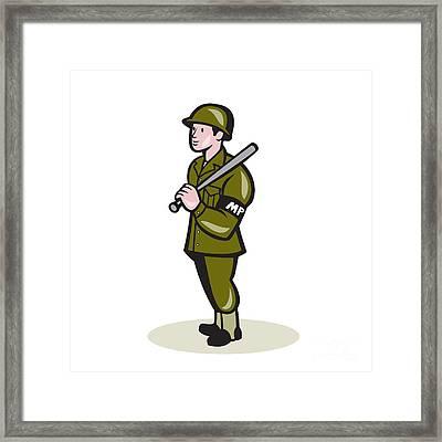 Military Police With Night Stick Baton Cartoon Framed Print by Aloysius Patrimonio