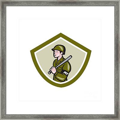 Military Police With Night Stick Baton Shield Framed Print by Aloysius Patrimonio
