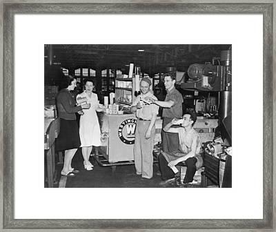 Milk Break For War Workers Framed Print by Underwood Archives