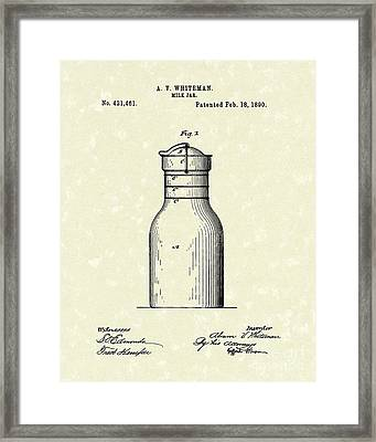 Milk Jar 1890 Patent Art Framed Print by Prior Art Design