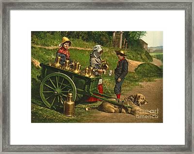 Milk Sellers Brussels Belgium 1890 Framed Print by Padre Art