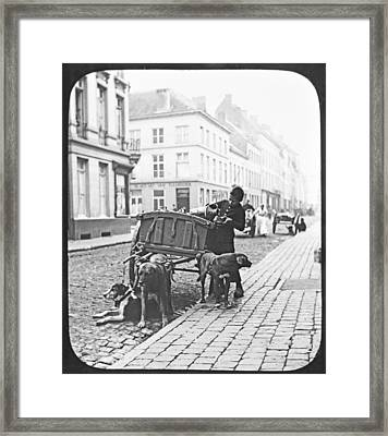 Framed Print featuring the photograph Milk Wagon Street Scene Germany C 1900 Vintage Photo by A Gurmankin