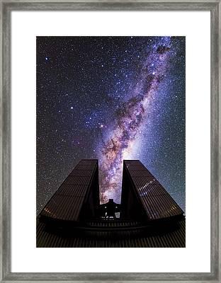 Milky Way Above The Ntt Telescope Framed Print by Babak Tafreshi