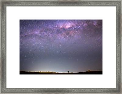 Milky Way And Astronomer Framed Print by Luis Argerich