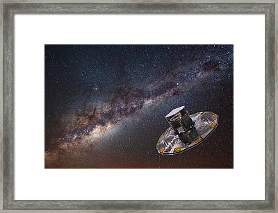 Milky Way And Gaia Satellite Framed Print by European Space Agency,d. Ducros