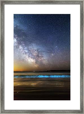 Milky Way Over Bioluminescent Plankton Framed Print by Laurent Laveder