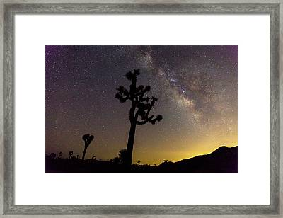 Milky Way Over Joshua Trees At Sunset Framed Print by Michael Szoenyi