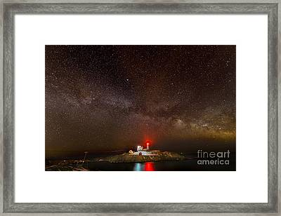 Milky Way Over Nubble Light Framed Print by Jim Block