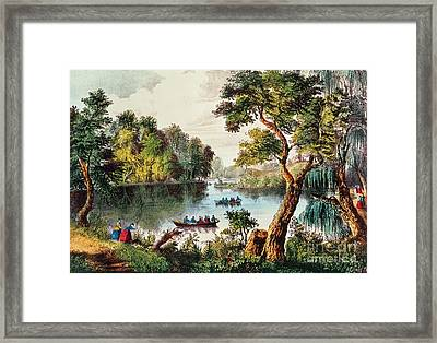 Mill Cove Lake Framed Print by Currier and Ives