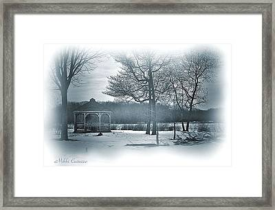 Mill Pond In Winter Framed Print by Mikki Cucuzzo