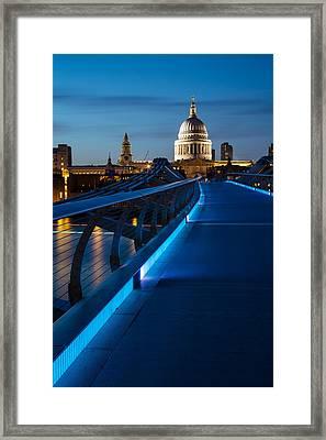 Millenium Bridge Blue Hour I Framed Print by Adam Pender