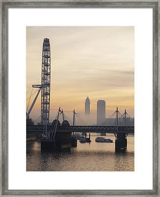 Millenium Wheel At Sunset_ London Framed Print by Charles Bowman