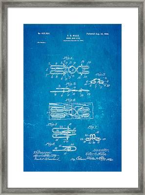 Mills Hook And Eye Patent Art 1900 Blueprint Framed Print by Ian Monk