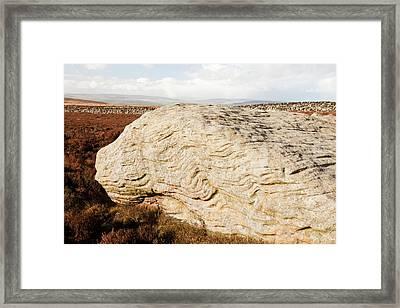 Millstone Grit Boulders Framed Print by Ashley Cooper