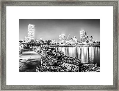 Milwaukee Skyline At Night Black And White Photo Framed Print by Paul Velgos