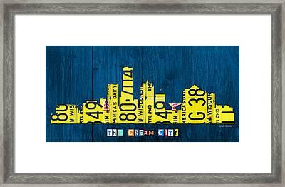 Milwaukee Wisconsin City Skyline License Plate Art Vintage On Wood Framed Print by Design Turnpike