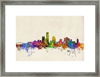 Milwaukee Wisconsin Skyline Framed Print by Michael Tompsett