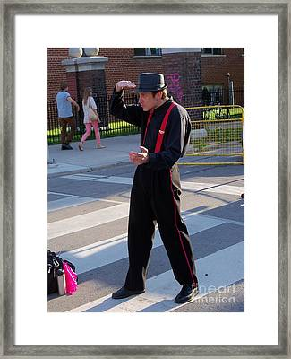 Mime Performer On The Street Framed Print by Lingfai Leung